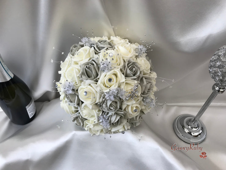 Grey & Ivory Rose With Silver & Crystal Butterfly