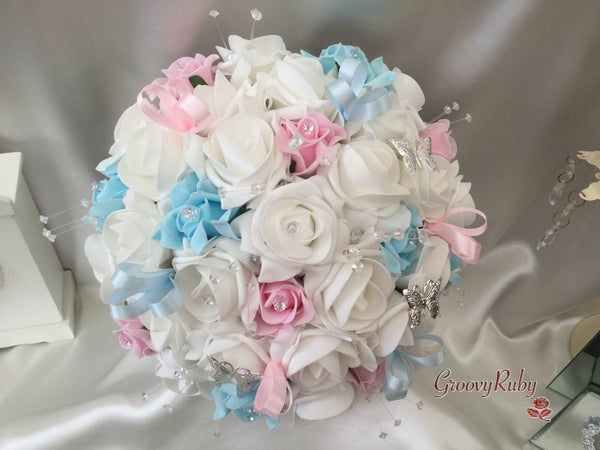 Baby Blue Baby Pink Amp White Butterfly Crystal