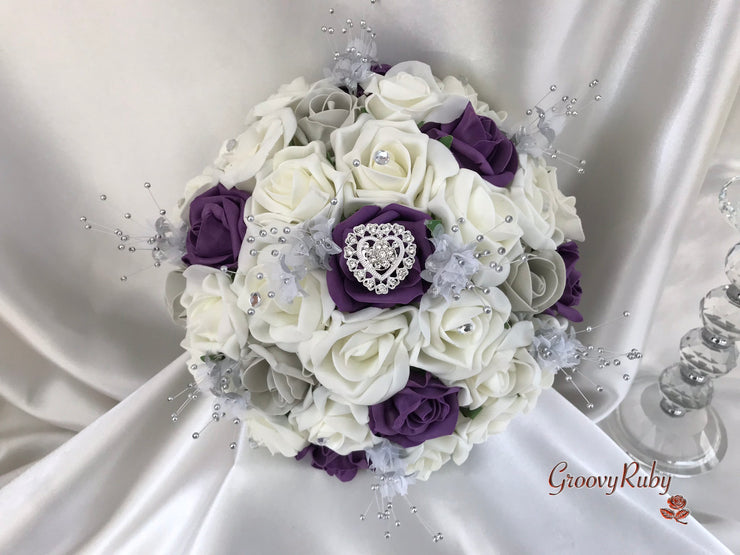 Plum & Silver Roses With Delicate Heart Brooch