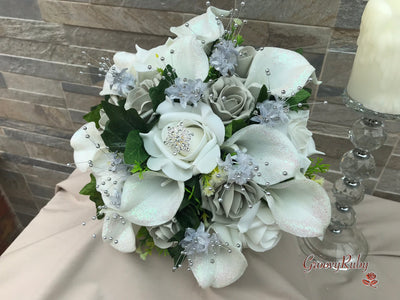 Glittered White Calla Lily With Silver