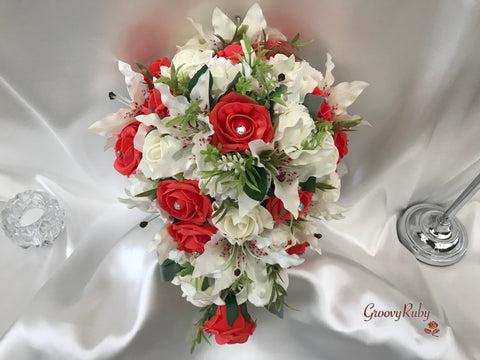 Small Tiger Lilies & Coral Roses With Foliage