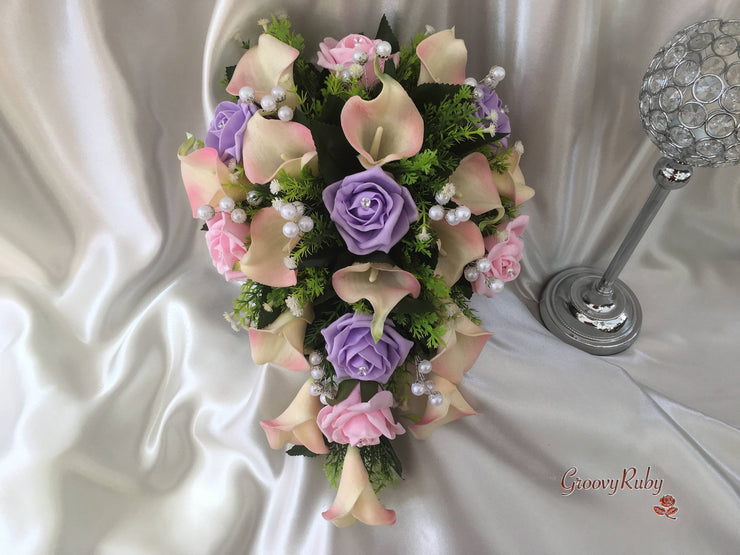 Ivory Candy Pink-Edged Calla Lilies With Lilac & Baby Pink Roses, Foliage & Large Pearl Sprays