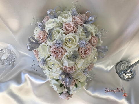 Mocha Pink & Ivory Roses With Silver