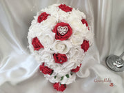 Red & White Roses, Heart Brooch, Crystal Sprays