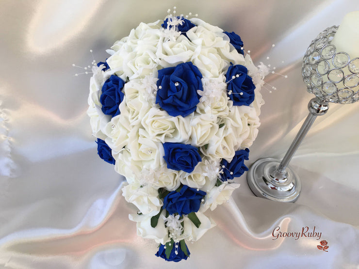 Royal Blue & Ivory Rose Crystal With Ivory Pearl Babies Breath