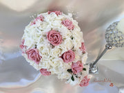 Dusky Pink & Ivory Rose Crystal With Ivory Pearl Babies Breath