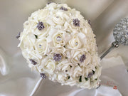 Rose Bouquets With Silver Satin Diamante Flowers