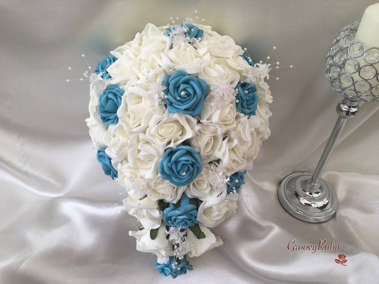 Turquoise & Ivory Rose Crystal With Ivory Pearl Babies Breath