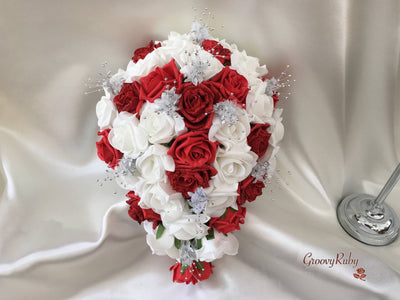 Red Glitter Rose With Silver Babies Breath