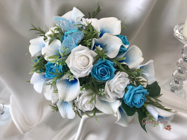 White & Blue Centred Calla Lilies With Roses & Large Turquoise Glitter Butterfly