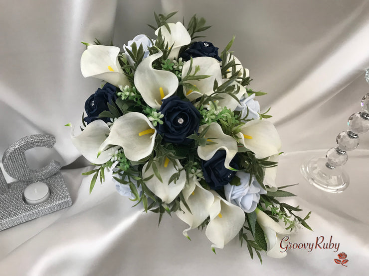 Navy & Ice Blue Rose & Large Ivory Calla Lily