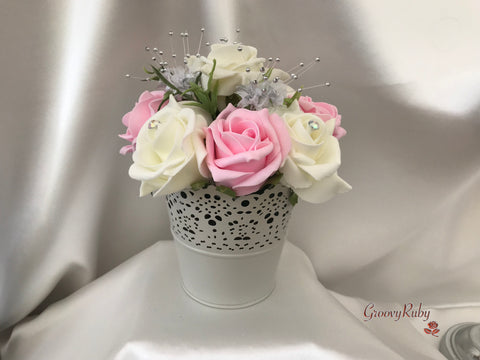 Bucket Arrangement With Baby Pink & Ivory Roses & Babies Breath