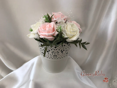 Bucket Arrangement With Blush Pink & Ivory Roses & Ivory Babies Breath