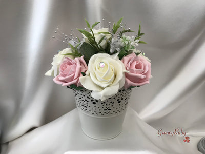 Bucket Arrangement With Dusky Pink & Ivory Roses & Babies Breath