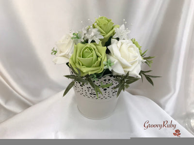 Bucket Arrangement With Lime Green & Ivory Roses & Ivory Babies Breath