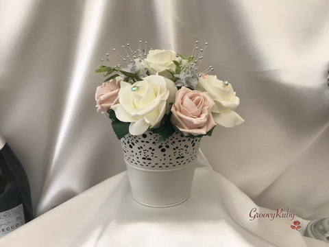 Bucket Arrangement With Mocha Pink & Ivory Roses & Babies Breath