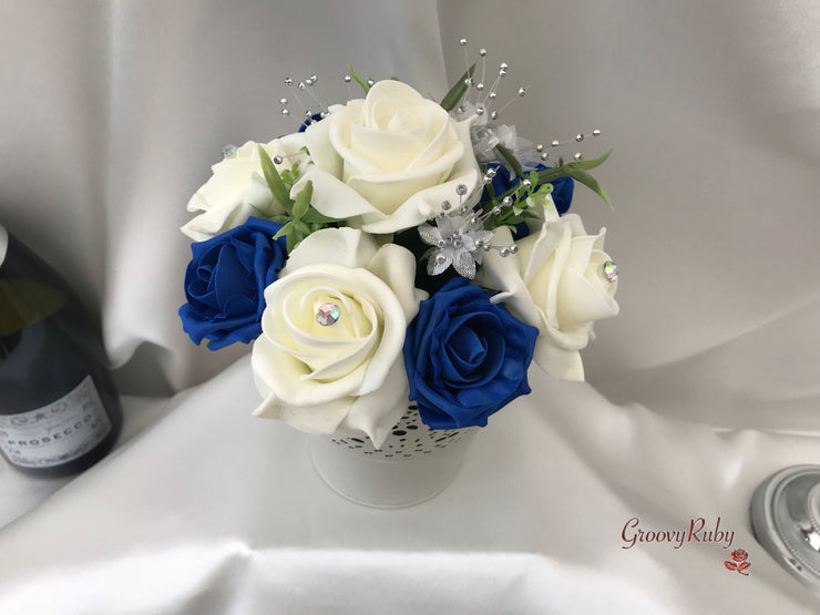 Bucket Arrangement With Royal Blue & Ivory Roses & Babies Breath