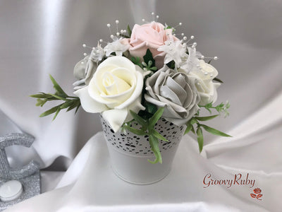 Bucket Arrangement With Mocha Pink, Silver & Ivory Roses & Babies Breath