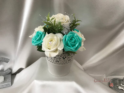 Bucket Arrangement With Tiffany Blue & Ivory Roses & Babies Breath