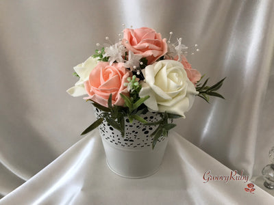 Bucket Arrangement With Peach & Ivory Roses & Ivory Babies Breath