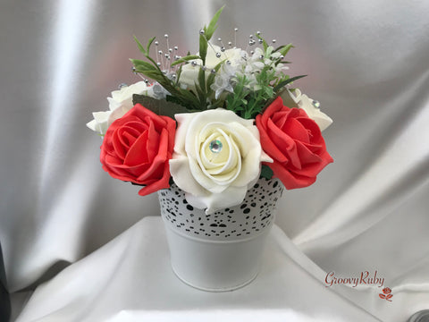 Bucket Arrangement With Coral & Ivory Roses & Babies Breath