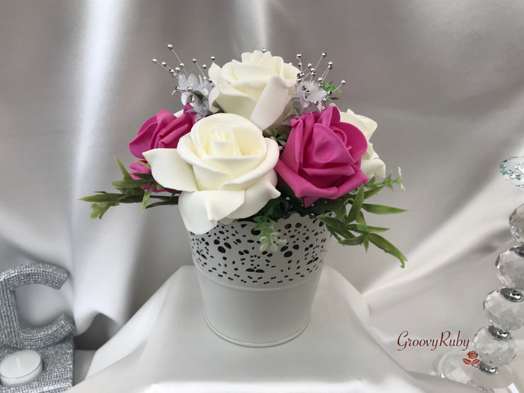 Bucket Arrangement With Hot Pink & Ivory Roses & Babies Breath