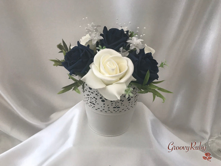 Navy Roses & Pearl Heart Brooch With Pearl Sprays & Babies Breath