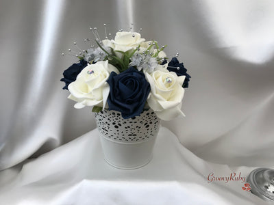 Bucket Arrangement With Navy & Ivory Roses & Babies Breath