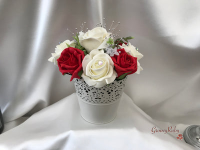 Bucket Arrangement With Red & Ivory Roses & Babies Breath