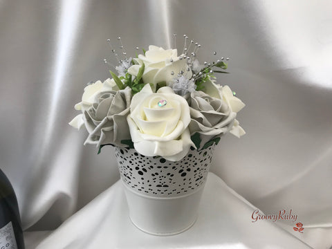 Bucket Arrangement With Grey & Ivory Roses & Babies Breath