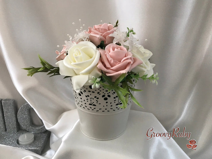 Bucket Arrangement With Vintage Peach & Ivory Roses & Ivory Babies Breath