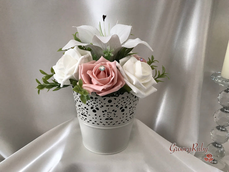Bucket Arrangement With Vintage Peach Roses & White Tiger Lilies