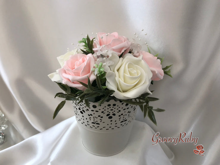 Blush Pink Roses & Pearl Heart Brooch With Pearl Sprays & Babies Breath
