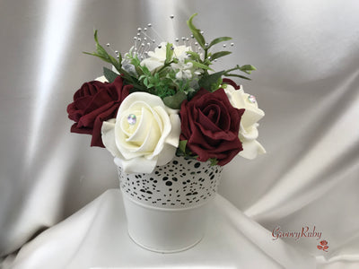 Bucket Arrangement With Burgundy & Ivory Roses & Babies Breath