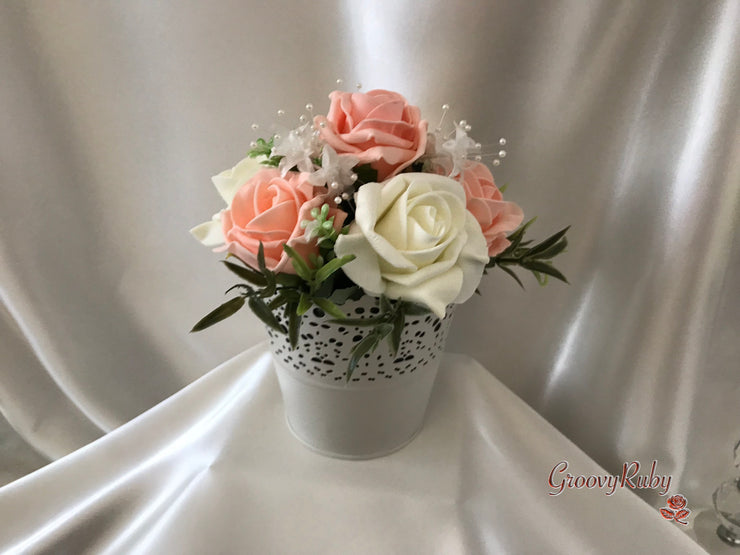 Peach Roses & Pearl Heart Brooch With Pearl Sprays & Babies Breath
