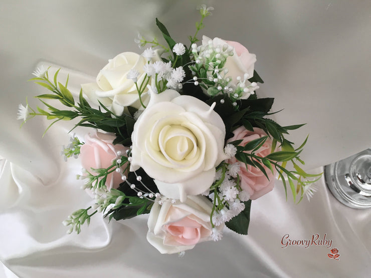 Ivory Bucket Arrangement With Blush Pink & Ivory Roses With Pearl Loops