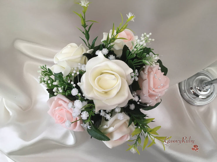 Pink Bucket Arrangement With Blush Pink & Ivory Roses With Pearl Loops