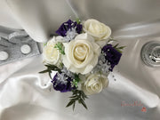 Bucket Arrangement With Purple & Ivory Roses & Babies Breath