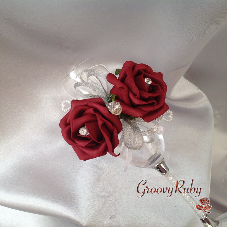 Diamante Wrist Corsage With Burgundy Roses