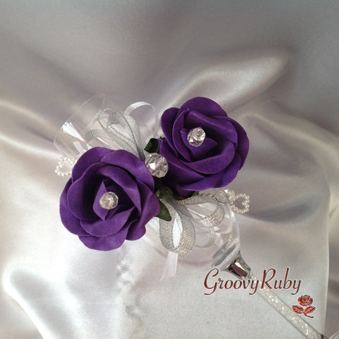 Diamante Wrist Corsage With Cadbury Purple Roses