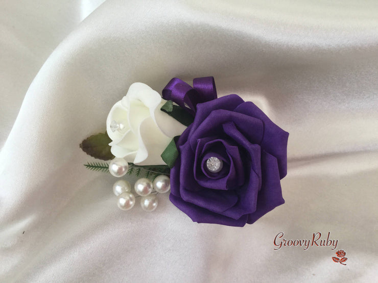 Ladies Pin On Corsage With Pearl Spray & Ribbon - Colour Combination Of your Choice