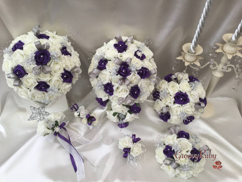 Cadbury Purple & Ivory Rose With Silver Loops & Babies Breath