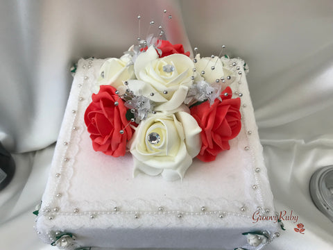Coral & Ivory Roses With Babies Breath Cake Topper