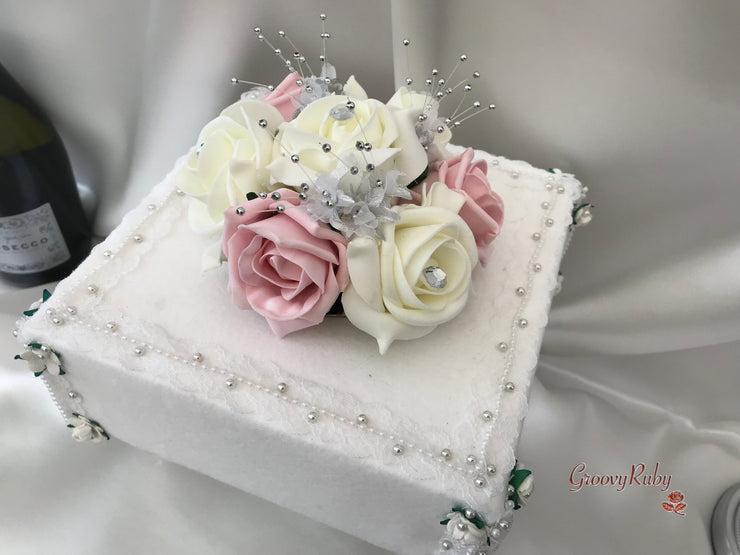 Dusky Pink & Ivory Roses With Babies Breath Cake Topper