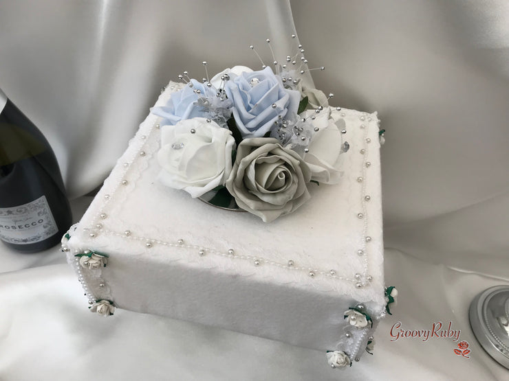 Ice Blue & Silver Roses With Babies Breath Cake Topper