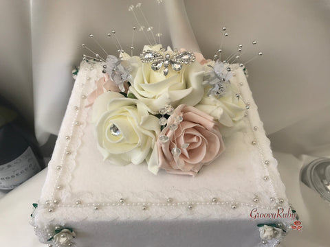 Mocha Pink & Ivory Rose With Silver & Crystal Butterfly Cake Topper