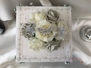 Grey & Ivory Rose With Silver & Crystal Butterfly Cake Topper