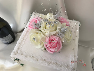 Baby Pink & Ivory Rose With Silver & Crystal Butterfly Cake Topper