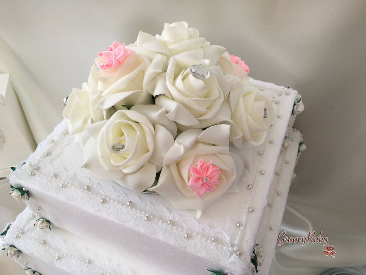 Roses With Baby Pink Satin Diamante Flowers Cake Topper