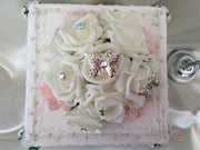 Blush Carnations & Rose Iridescent Butterfly Cake Topper